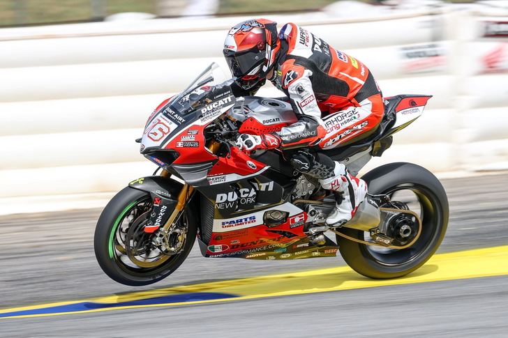 The pre-season favorite in MotoAmerica was veteran Loris Baz of France on the Warhorse HSBK Ducati New York Panigale, but the series opener at Road Atlanta did not go well for the series rookie and former World Superbike winner. Image by Brian J Nelson/Courtesy MotoAmerica.