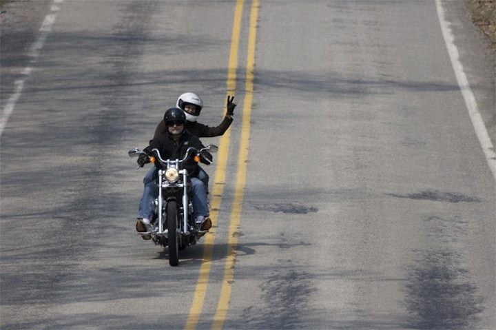 Waving from the Harley